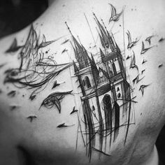Inspired on a photo of the Church of Our Lady before Tyn, in Prague. Tattoo artist: Felipe Rodrigues, @rodferod.