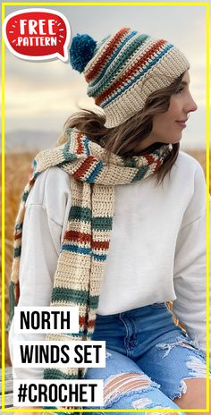 Chunky Crochet, Free Crochet, Crochet Beanie Pattern, Crochet Patterns, Hat And Scarf Sets, Crocheted Hats, Scarf Patterns, Crochet Woman, Homemade Crafts