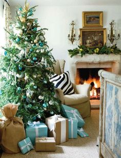 teal and white christmas | This would be the space I would decorate if I were to use blue & green ...