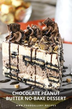 Chocolate Peanut Butter No-Bake Dessert. Cake Recipes At Home, Cake Recipes From Scratch, Best Cake Recipes, Bread Recipes, Easy Recipes, Cooking Recipes, Homemade Frosting Recipes, Homemade Cakes, Dessert Ideas