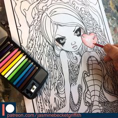 "For Valentine's Day we have a brand new Patreon Exclusive COLORING PAGE! ""Heart of Nails"" #jasminebecketgriffith #strangeling #coloringbook #adultcoloringbook #coloringbooksforgrownups #coloringbooksforadults #fantasyart #art #painting #coloringbookforadults #bigeyes #bigeyeart #valentinesday #happyvalentinesday  #valentinefairy #valentinesfairy #fairy #fairyart #popsurrealism #lowbrowart #coloring #coloringpage #coloringpages"