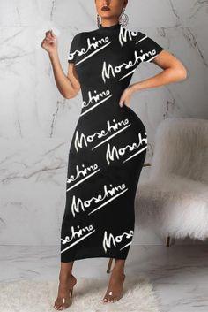 Fashion Letter Print Black Short Sleeve Dress Yellow Long Sleeve Dress, Short Sleeve Dresses, Dresses With Sleeves, Nice Dresses, Hot Dress, Jumpsuit Dress, Cut Clothes, Cheap Clothes, Cheap Shoes