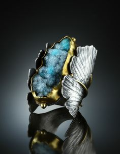 Ring | Amy Buettner. Druzy Chrysocolla, Sterling Silver and 18k Gold.