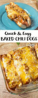 when i make chili. make a seperate batch for these for kiddos These Quick and Easy Baked Chili Dogs are a great lunch or dinner idea for all the Chili Dog fans out there! Hot Dog Recipes, Lunch Recipes, Easy Dinner Recipes, Beef Recipes, Cooking Recipes, Chili Dog Recipes, Quick Easy Lunch Ideas, Quick Meals For Dinner, Quick Supper Ideas