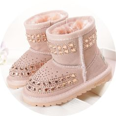 Rhinestones Girls Genuine Leather Snow Boots Crystal Fur Shoes. Toddler  Snow BootsKids ... 7835b8c5dc8b