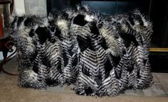 Faux Fur Pillows Ostridge Feather Faux Fur by CindyHeitkampDesigns