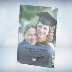 """Color Imprinted Beveled Jade Glass Graduation Photo Plaques. The 3/16"""" thick Jade Glass Beveled Vertical Rectangle Photo Plaque with Aluminum Pole is an excellent personalized gift for wedding invitation, anniversary, Mother's day, Father's day or Graduation.  This personalized plaque with the full color photo image and verbiage imprinted will let the recipient feel much appreciated to treasure forever. The aluminum pole is hand screwed in for the plaque to stand free."""