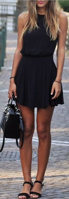 Simple black dress and black sandals for a weekend