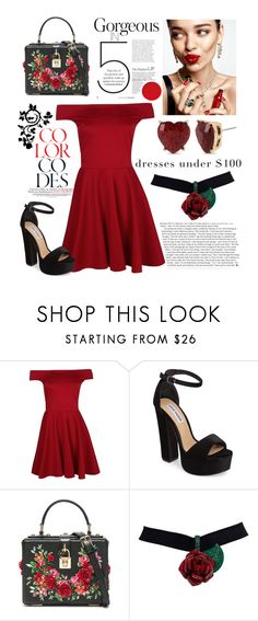 """Dresses under $100 contest"" by pinkxxsugar ❤ liked on Polyvore featuring Boohoo, Steve Madden, KAROLINA, Dolce&Gabbana, Betsey Johnson and under100"