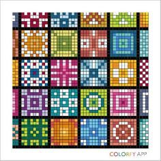colorfy quilt 88 – Home living color wall treatment kitchen design Tiny Cross Stitch, Cross Stitch Borders, Modern Cross Stitch, Cross Stitch Designs, Cross Stitching, Cross Stitch Embroidery, Mosaic Patterns, Cross Stitch Patterns, Graph Paper Art