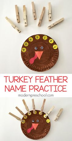 Letter matching turkey feather busy bag to practice name recognition and fine motor skills for preschoolers!