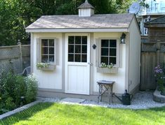 Shed Plans - Duroshed - 8 feet x 10 feet shed, cupola, single windows with window planter boxes, barn style door with window, white with grey trim. Now You Can Build ANY Shed In A Weekend Even If You've Zero Woodworking Experience! Backyard Studio, Backyard Sheds, Outdoor Sheds, Garden Sheds, Shed Landscaping, Fun Backyard, Garden Gates, Garden Tools, Casas California