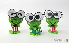 Keroppi in Quilling LOL - Quilling Paper Crafts Quilling Images, Paper Quilling Cards, Quilled Paper Art, Paper Quilling Designs, Quilling Patterns, Paper Beads, Quilling Dolls, Arte Quilling, Quilling Work