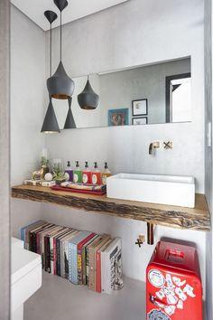 banheira com luminária pendente / Banheiros decorados: escolha o seu #hogarhabitissimo
