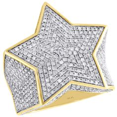10K Yellow Gold Diamond Iced Out Star Shape Frame Pinky Ring 25mm Band 2.27 CT.