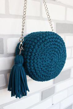 Items similar to Woman Bag knitted bag round bag hand made bag cotton bag leather bag blue long handle bag women's accessory yarn summer bag father's day on Etsy – Crochet Bag İdeas. Crochet Bag Tutorials, Diy Crafts Crochet, Free Crochet Bag, Knit Rug, Crochet Backpack, Bag Women, Bag Pattern Free, Round Bag, Diy Purse