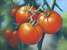"""Kerstin Birk, """"Tomaten"""" Mit einem Klick auf """"Als Kunstkarte versenden"""" versenden Sie kostenlos dieses Werk Ihren Freunden und Bekannten."""