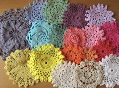 18 Rainbow Brights Hand Dyed Crochet Doilies by rachaelsscraps, $15.00