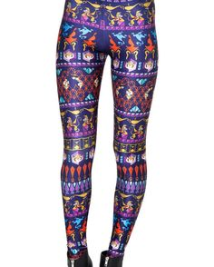 Aladdin Tribal Galaxy Leggings Women's Fashion Pink Leggings Soft Stretch Pants 3289