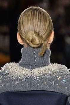 Knotted bun at Balenciaga Fall 2014  - Runway Beauty at Paris Fashion Week Fall 2014 #PFW