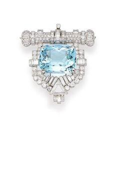 An Art Deco Aquamarine and Diamond Brooch,