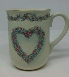 VTG Otagiri Japan Mug Cup Creative Collection Heart Pastel Floral Gold Rimmed #Otagiri