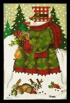 Melissa Shirley Designs | Hand Painted Needlepoint | Forest Snowman