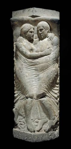 Etruscan sarcophagus and lid with relief of married couple, circa late 4th–early 3rd century BC