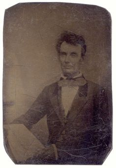 ABRAHAM LINCOLN ...ca. 1854-60's, ninth-plate copy tintype of the lost Polycarpus Von Schneidau daguerreotype of Lincoln, taken in Chicago in 1854