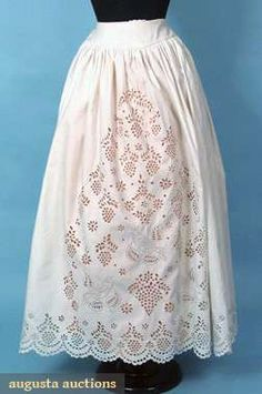 1850s-60s broderie Anglaise petticoat with well-rendered motif of birds amid berries or blossoms. Augusta Auctions.