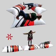 """Hunk Design has created awesome #LQC amenities. These fun but simple public space pillows are made from shipping container materials, seat belt bands and swimming pool buoys! The The """"Fuguloco's"""" have become host to relaxation and play for kids and adults alike in #Placemaking projects across The Netherlands. Urban Intervention, Tigger, Kids Playing, Netherlands, Swimming Pools, Bands, Container, Public, Belt"""