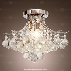 Chrome Finish Crystal Chandelier with 3 lights - USD $ 179.99