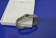 50er Jahre Armband Silber 835 und Saphire SA132 von Schmuckbaron