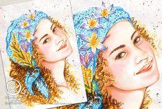 Mesi Illustrati: Marzo #visodidonna #ritratto #illustrazione #bellezza #fiori #frutti #foglie #mesidellanno