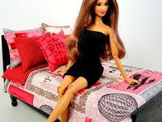 Paris Barbie Doll Bedding Set by ElleLaLaBoutique on Etsy