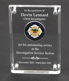 33583edcbaa We engraved this large custom acrylic flame award for Orange County ...