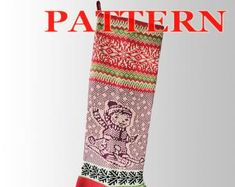 Etsy :: Your place to buy and sell all things handmade Knitted Christmas Stocking Patterns, Knitted Christmas Stockings, Xmas Stockings, Christmas Knitting, Santa Stocking, Fair Isle Knitting, Scandinavian Christmas, Christmas Snowman, Knitting Patterns