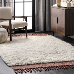 Marrakech Solid Shag Tassel Cream Rug High Pile Rug, Living Room Area Rugs, Trellis Rug, Gold Rug, Yellow Area Rugs, Black Rug, Rugs Usa, Buy Rugs, Home Rugs