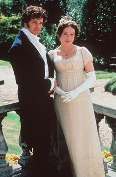 Colin Firth as Mr Darcy and Jennifer Ehle as Elizabeth Bennet A/BBC Pride & Prejudice, Bbc, Elizabeth Bennett, Mr Darcy And Elizabeth, Jennifer Ehle, Jane Austen Movies, Hampshire, Chef D Oeuvre, Movie Costumes, Film Serie
