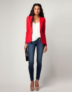 Red blazer #casualfriday #office