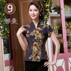 Elegant Frog Button Open Neck Chinese Shirt - Dark Purple - Chinese Shirts & Blouses - Women