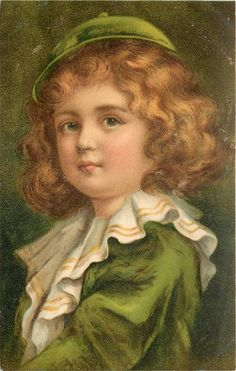 child, dressed in green with small cap with button on top looks ahead, left shoulder in front, frilly collar -