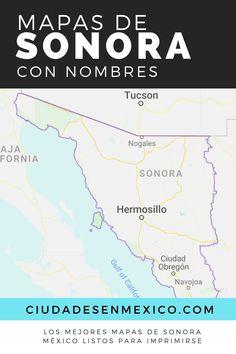 Descarga los mejores mapas del estado de Sonora México. Mapas con nombres y sin nombres a color y en blanco y negro, así como mapas de las carreteras del estado listos para imprimir y colorear. #mapas #viajes #mapa #mundo #mexico #visitmexico #visitasonora #sonora #geografia Puerto Penasco, Maps, World, Roads