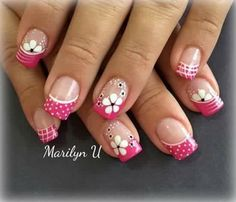 Floral Dotted Colored French tips mani Funky Nail Designs, French Nail Designs, Pretty Nail Designs, Simple Nail Designs, Fancy Nail Art, Pink Nail Art, Fingernail Designs, Toe Nail Designs, Funky Nails