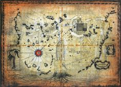 Treasure Map   Treasure Map Etching with aquatint by the American artist Tighe O'Donoghue, circa 1981, is a surrealist rendering of a map. O'Donoghue's use of symbols and allusions to scientific achievements have the ability to excite the viewer. Signed and numbered in pencil.  http://www.finelifeart.com/treasure-map-2/
