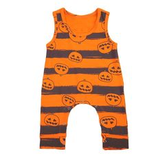 Pudcoco Sans Manches O-cou Pull Citrouille Halloween Infantile Béon Fille Pull Barboteuse Salopette Tenues Combishort Ensemble M Newborn Outfits, Baby Boy Outfits, Kids Outfits, Rompers For Kids, Girls Rompers, Toddler Halloween, Halloween Clothes, Halloween Costumes, Baby Clothes Online