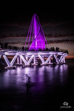Los Muertos new pier at night. Go to visit website to watch the video. / Photo Muelle Los Muertos by Jose Carrillo. Puerto Vallarta, Two Worlds, 4th Anniversary, Virtual Art, Visit Website, Mexico Travel, Home And Away, Cities, Places To Go