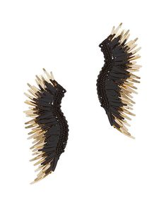 Mignonne Gavigan Madeline Earrings: Black: 3 of beaded and fringe mix together on a leather backed post back earring. For pierced ears. In ...