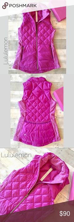 Down For A Run Puffer Vest-Tender Violet sz 4 Ultra lightweight Glyde fabric is wind and water resistant. Reflective detailing as safety feature. Side panels are sweat wicking with Lycra for easy movement. No lowballs, No trades. lululemon athletica Jackets & Coats Vests