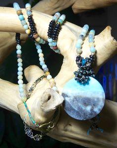 TURTLE BLUES Long Bangle Gemstone Necklace by BraceletsofBlueRidge